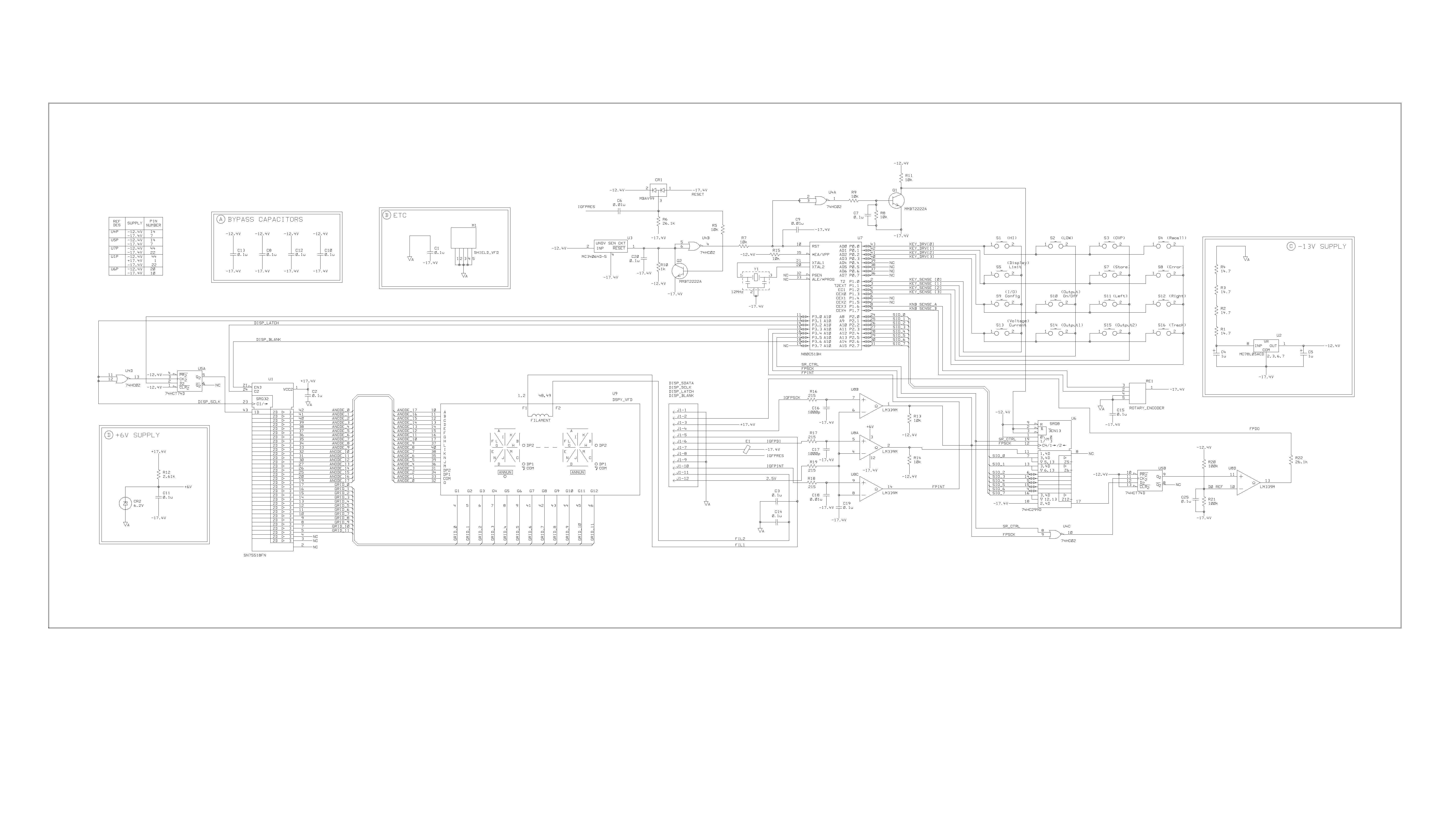 Agilent E3646a Power Supply Repair 5v Regulated With Overvoltage Protection Schematic Display Board Schematics Extracted From Service Manual Pg